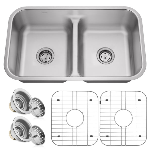 "32""x19""x10"" Stainless Steel 16g Low Profile 50/50 Split Double Bowl Kitchen Sink - mixwholesale.com"