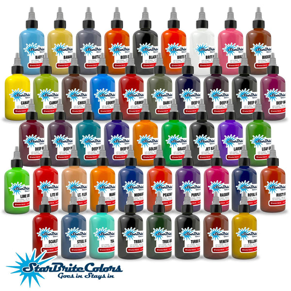 PROFESSIONAL-GRADE: Each bottle contains 100% authentic, sterile StarBrite Colors tattoo ink, trusted and preferred by tattoo artists