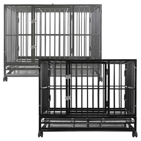 "PREMIUM-GRADE CONSTRUCTION: Commercial-quality steel construction provides a heavy-duty, solid framed pet crate expertly crafted and designed to keep pets safe and comfortable. Built-to-last, animal cage features a 3/4"" frame reinforced with 1/2"" diameter (20 gauge) welded steel tubes for top to bottom strength and durability."