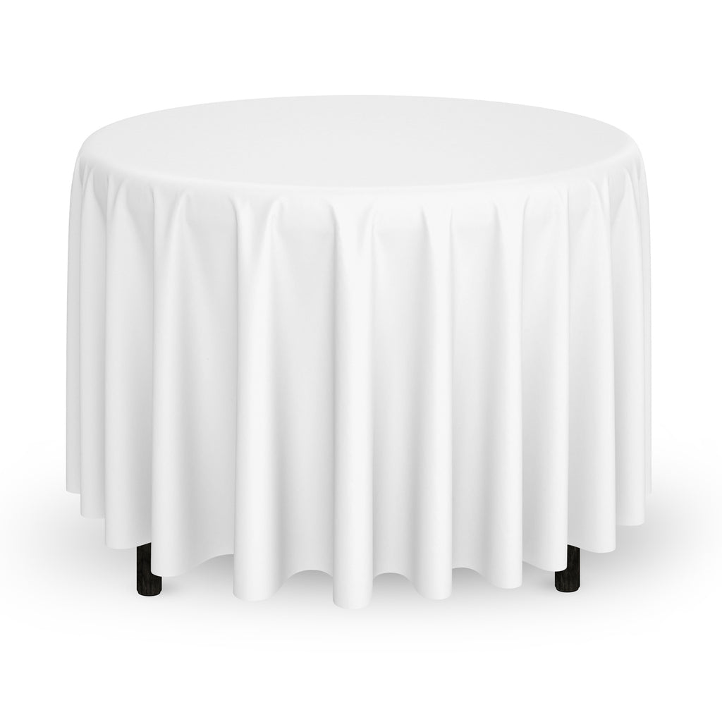 "120"" Round Wedding Banquet Polyester Fabric Tablecloth (More Colors) - mixwholesale.com"
