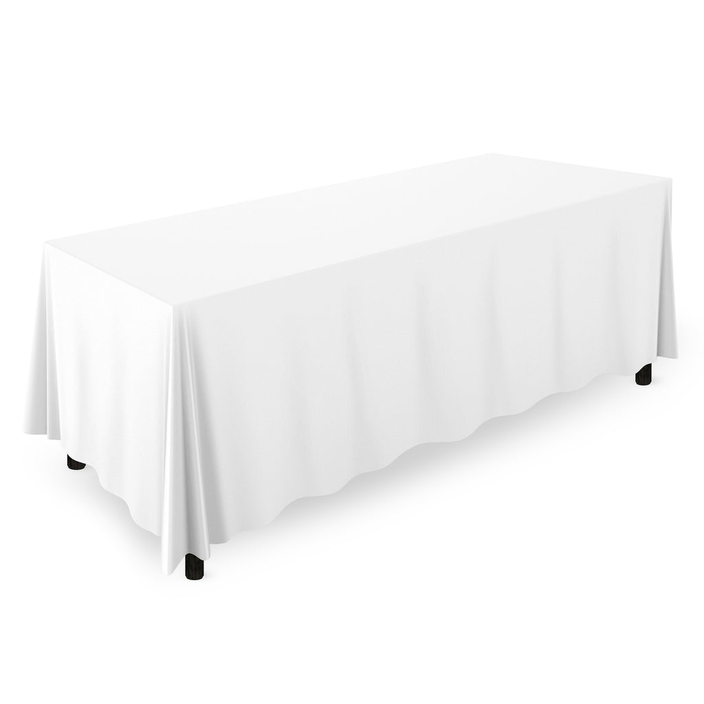 "90"" x 156"" Rectangular Wedding Banquet Polyester Fabric Tablecloth White - mixwholesale.com"