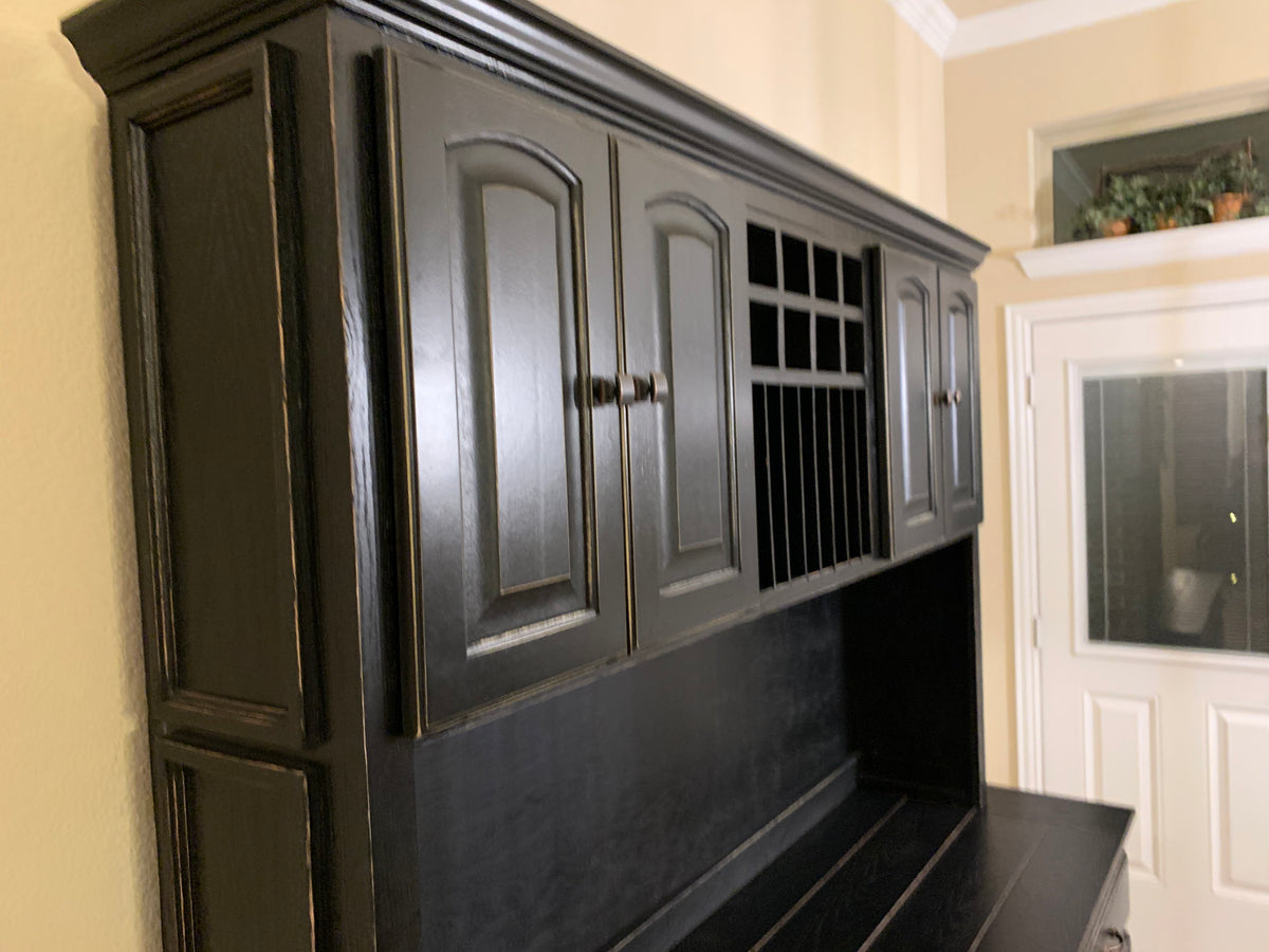 Antique Black Farmhouse Hutch