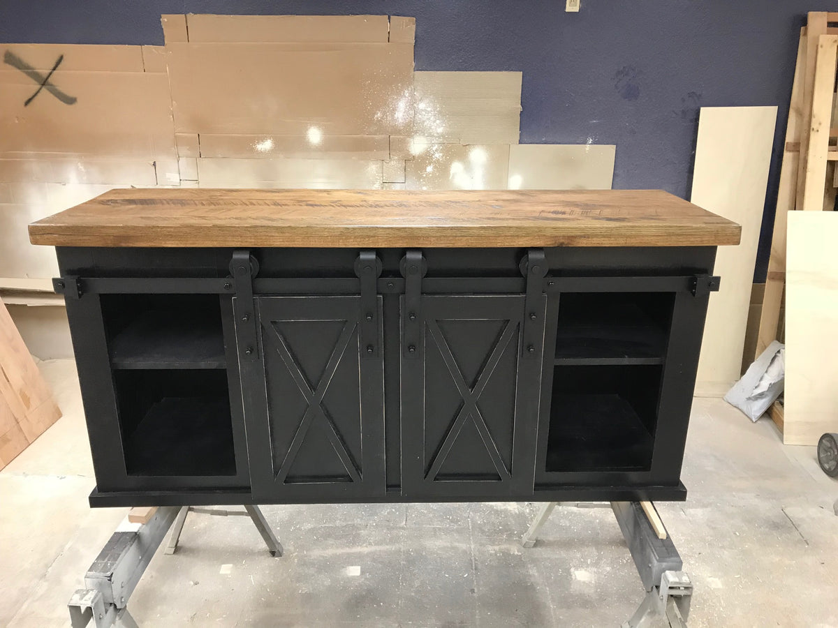 Industrial Barn Door TV Console