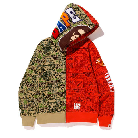 Bape XXV Cities Camo Tiger Shark Half Full Zip Hoodie Green/Red