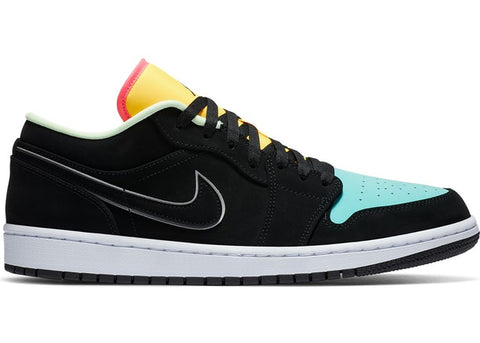 Air Jordan 1 Low Black Aurora Green Laser Orange
