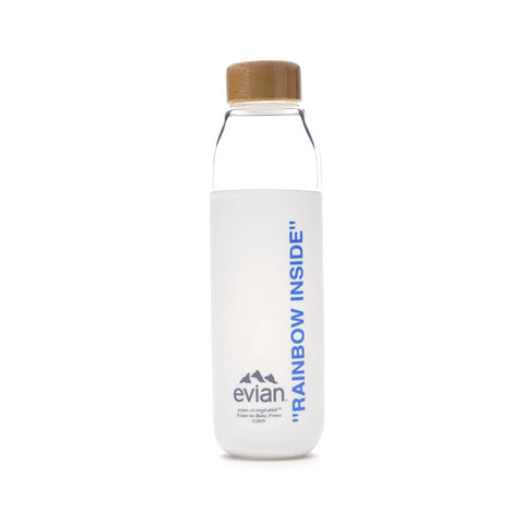 EVIAN BY VIRGIL ABLOH x SOMA Refillable Glass Water Bottle White/ Light Blue