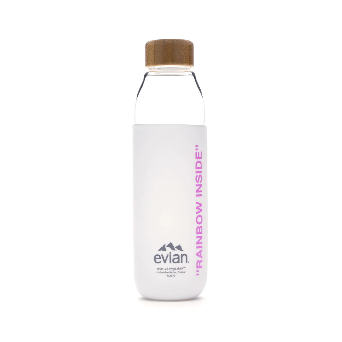 3dd07d676b EVIAN BY VIRGIL ABLOH x SOMA Refillable Glass Water Bottle White/Pink –  afterdrop