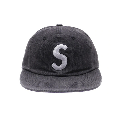 Supreme Washed Denim S Logo 6 Panel Black