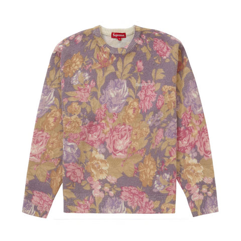 Supreme Printed Floral Angora Sweater Purple