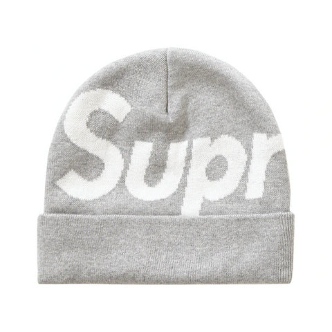 Supreme Big Logo Beanie (FW19) Heather Grey