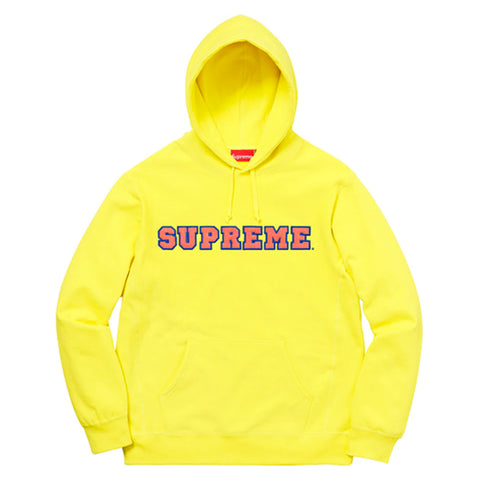 Supreme Cord Collegiate Logo Hooded Sweatshirt Lemon