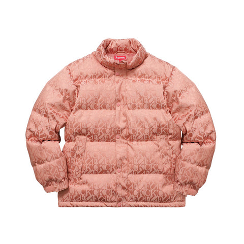 Supreme Fuck Jacquard Puffy Jacket Pink