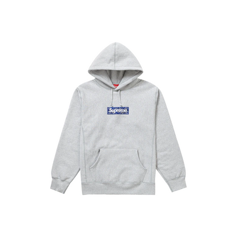 Supreme Bandana Box Logo Hooded Sweatshirt Heather Grey