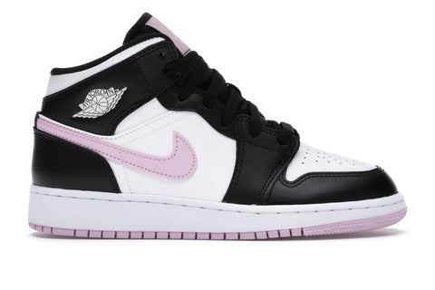 Air Jordan 1 Mid White Black Light Arctic Pink (GS)