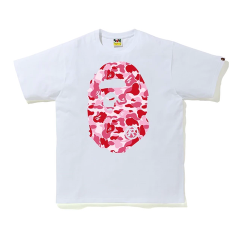 BAPE ABC Camo Big Ape Head Tee White/Pink