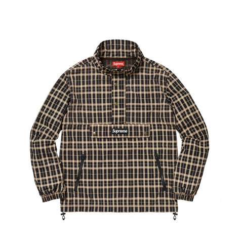 Supreme Nylon Plaid Pullover Tan