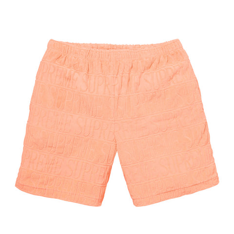 Supreme Logo stripe terry short Peach