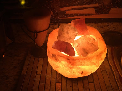 Natural Shape Abundance Bowl with Chunks - Salt Lamp