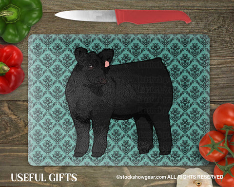Black Angus Cattle Glass Cutting Boards
