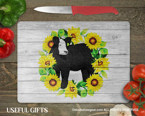 Black Baldy Cattle Glass Cutting Boards-Sunflowers