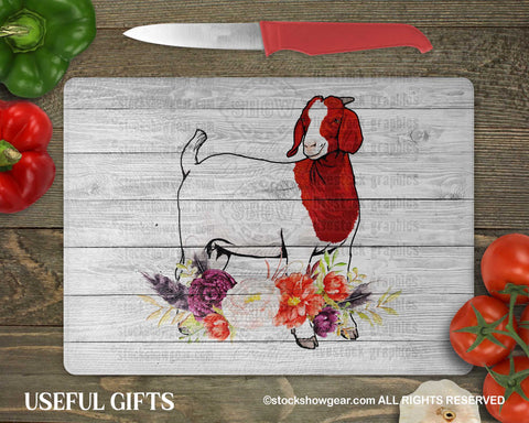 Boer Goat Glass Cutting Boards