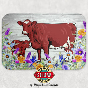 Shorthorn Cow-Calf Glass Cutting Board