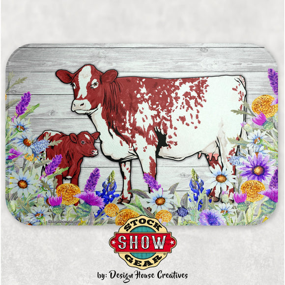 Roan Shorthorn Cow-Calf Glass Cutting Board