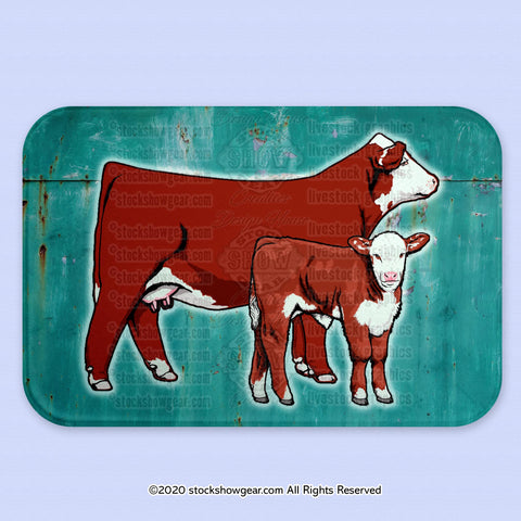 Hereford Cow-Calf Glass Cutting Board