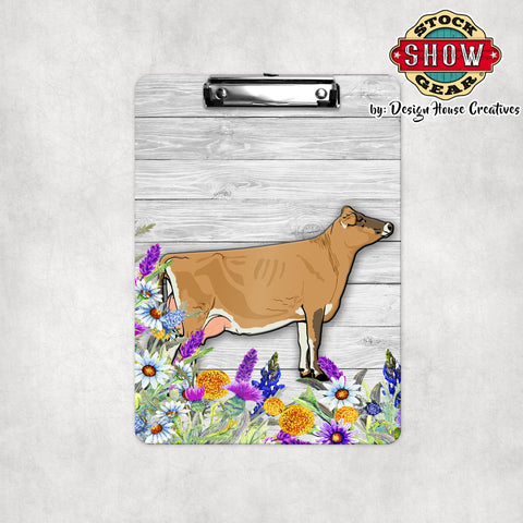 Jersey Dairy Cow Floral Clipboard