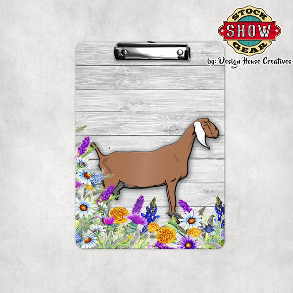 Nubian Dairy Goat Floral Clipboard