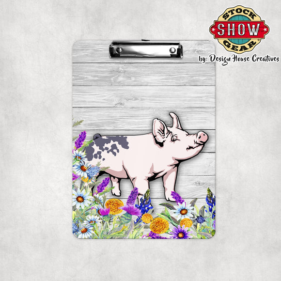Blue Butt Pig Floral Clipboard