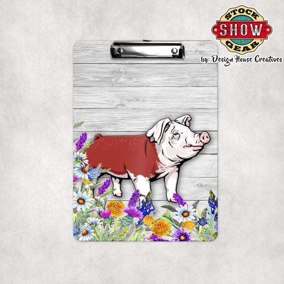 Hereford Pig Floral Clipboard