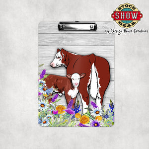 Hereford Cow Calf Floral Clipboard