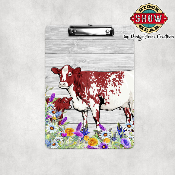 Roan Shorthorn Cow Calf Clipboard