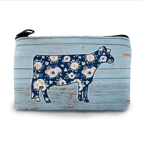 Dairy Cow Neoprene Coin Purse-Floral Patterns