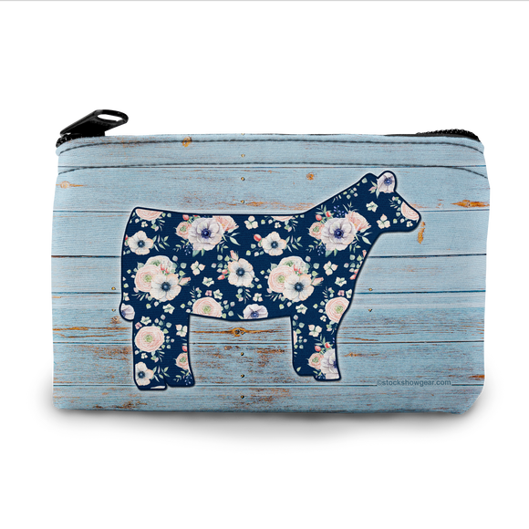 Floral Cow Neoprene Coin Purse
