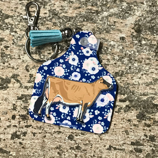 Dairy Cow Ear Tag Key Fobs with Tassel