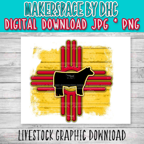 New Mexico Zia Show Steer Design-Digital Download
