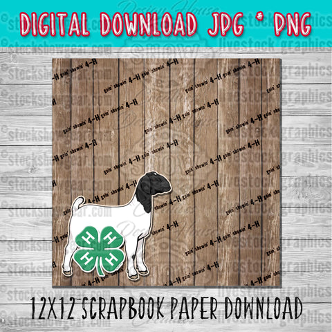 4-H Boer Wether Goat Scrapbook Paper 12x12 Digital Download