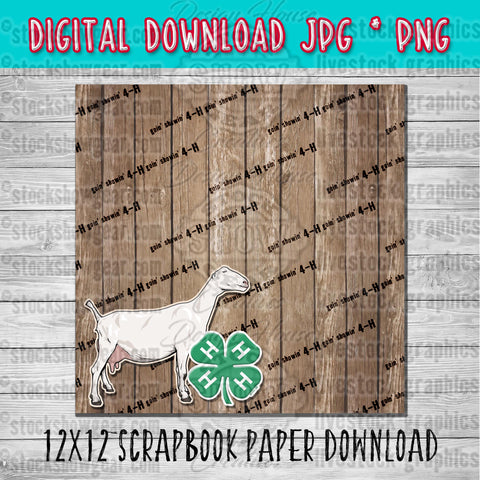 4-H Lamancha Dairy Goat Scrapbook Paper 12x12 Digital Download