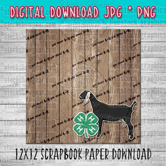 4-H Nubian Dairy Goat Scrapbook Paper 12x12 Digital Download