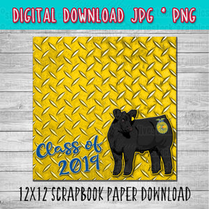 FFA Black Angus Steer Scrapbook Paper 12x12 Digital Download
