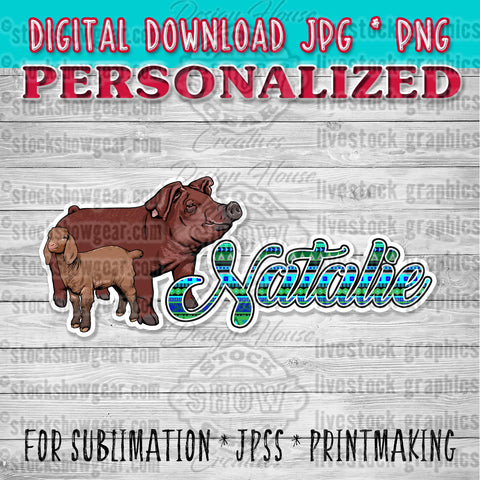 Personalized Double Livestock Graphic Digital Download