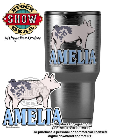Blue Butt Pig Personalized Sticker