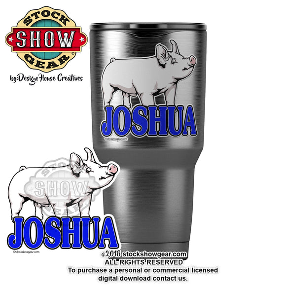 Yorkshire Pig Personalized Sticker Tumbler Notebook Show Box