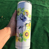 20oz. Skinny Sunflower Pig Tumbler with Sealing Lid and Metal Straw
