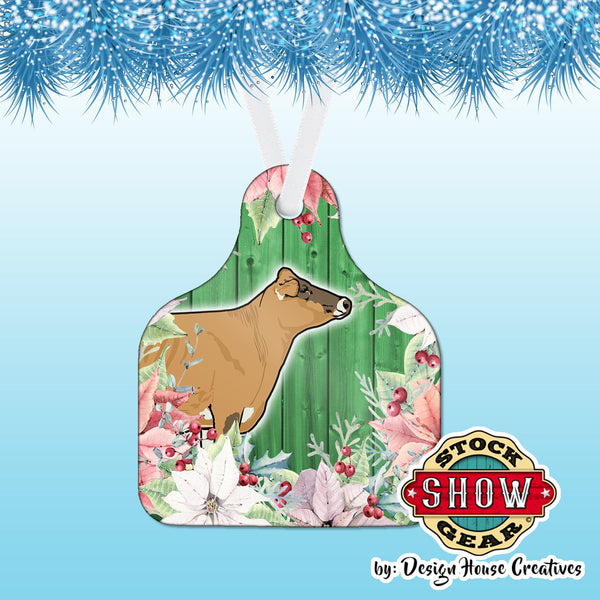 Ear Tag Shaped Livestock Poinsettia Christmas Tree Ornament