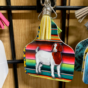 Boer Goat Ear Tag Shaped Key Tags-Mexican Serape