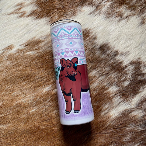 Red Angus Tumbler Split Tribal/Wood