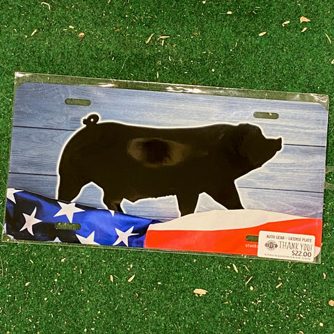 Down Eared Pig USA Themed License Plate